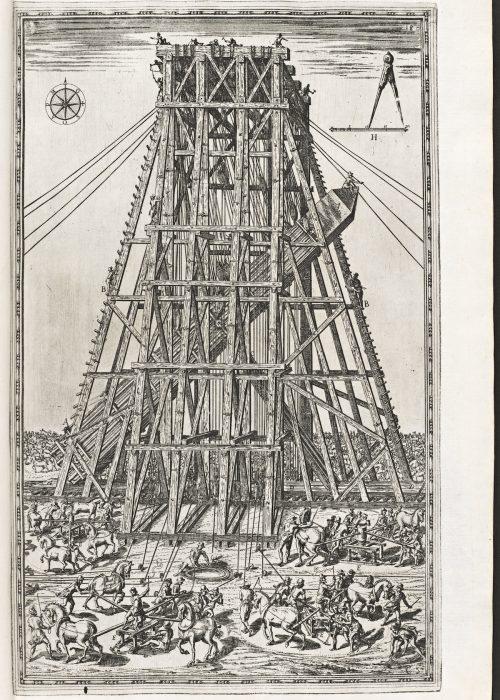 Vista lateral del Obelisco del Vaticano siendo levantado.- 1590, grabado del traslado del Obelisco. (Roma )- Archivos del Instituto de Investigaciones Getty